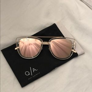 QUAY French Kiss Clear Rose Pink Sunglasses 💖